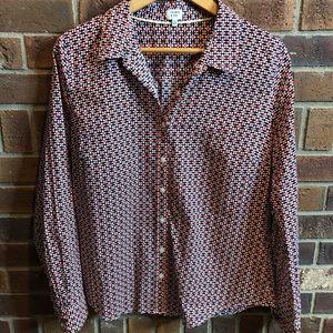 100% cotton blouse - navy white and orange pattern
